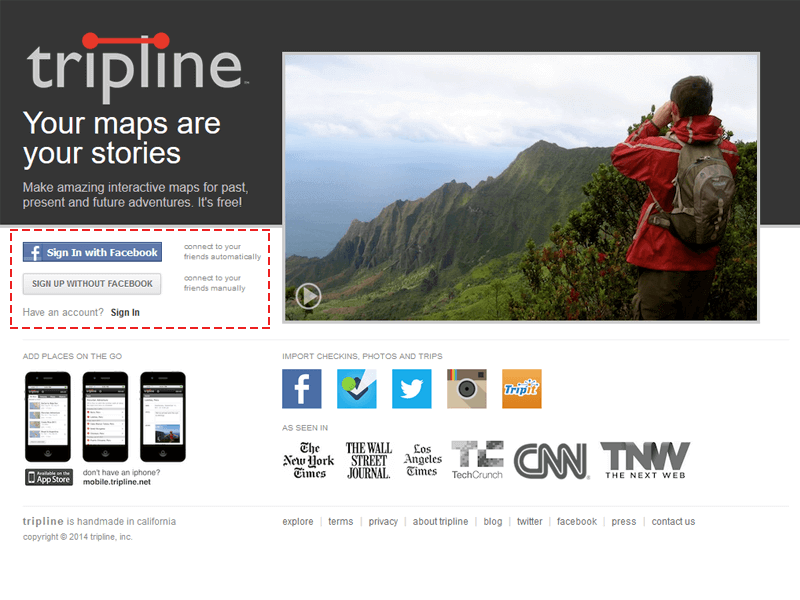 Triplineのトップ画面