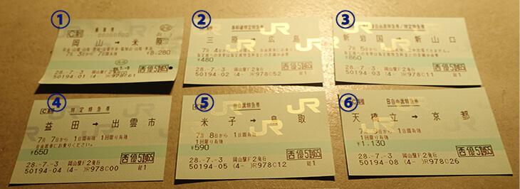 JR西日本の株主優待券を使って購入した乗車券一覧の写真