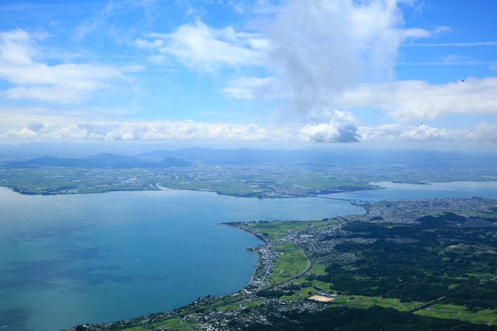 びわ湖テラスから眺める琵琶湖の写真