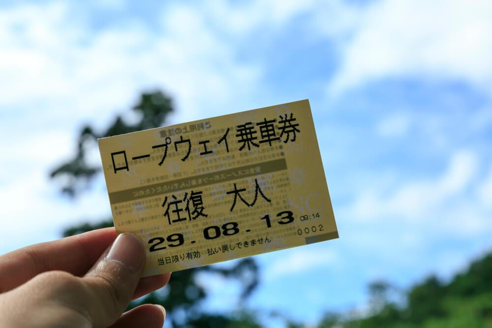 びわ湖バレイのロープウェイのチケットの写真