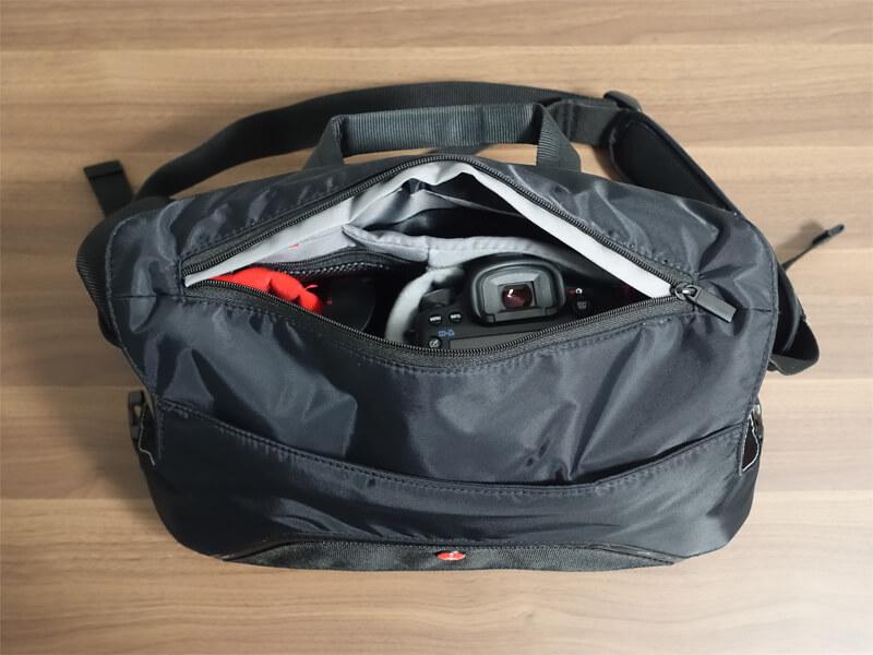 マンフロットのアドバンスメッセンジャー「MB MA-M-AS」のメイン気室のメッシュポケットを撮影した写真
