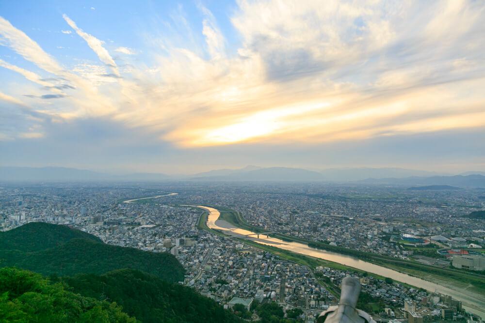 金華山・岐阜城天守閣から眺める岐阜の景色