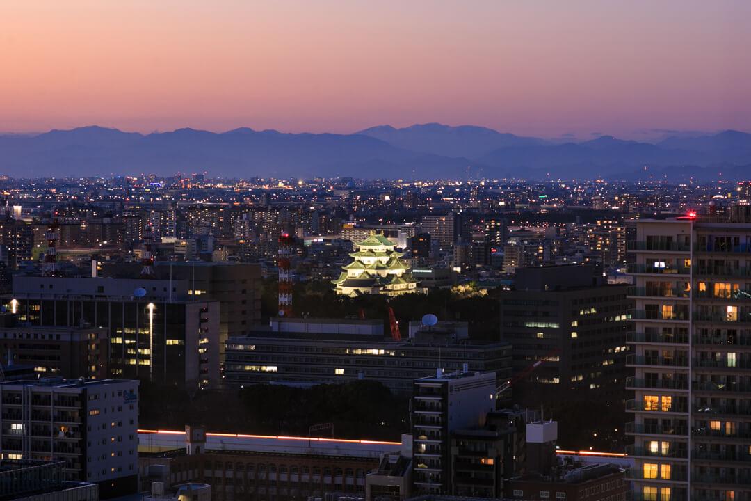 名古屋城テレビ塔から撮影した名古屋城の写真