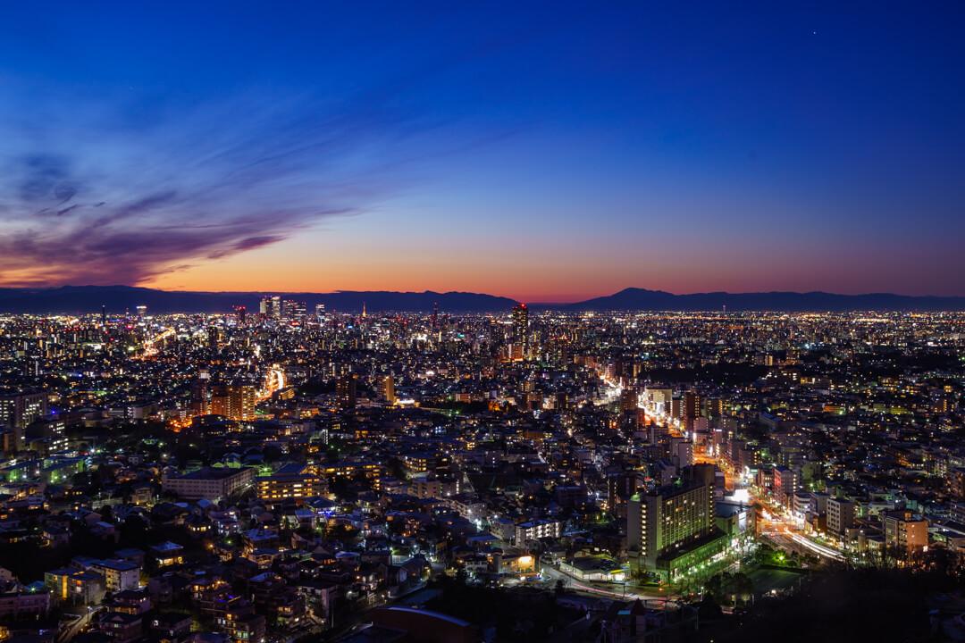 東山スカイタワーから撮影した夜景