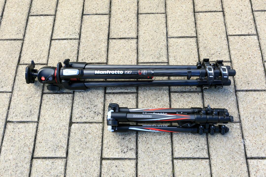 マンフロット190カーボン三段(mt190cxpro3)とbefree三脚を比較してみた写真