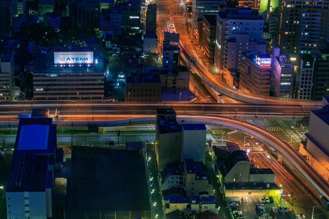 ミッドランドスクエア「スカイプロムナード」の東側・名古屋高速都心環状線の写真