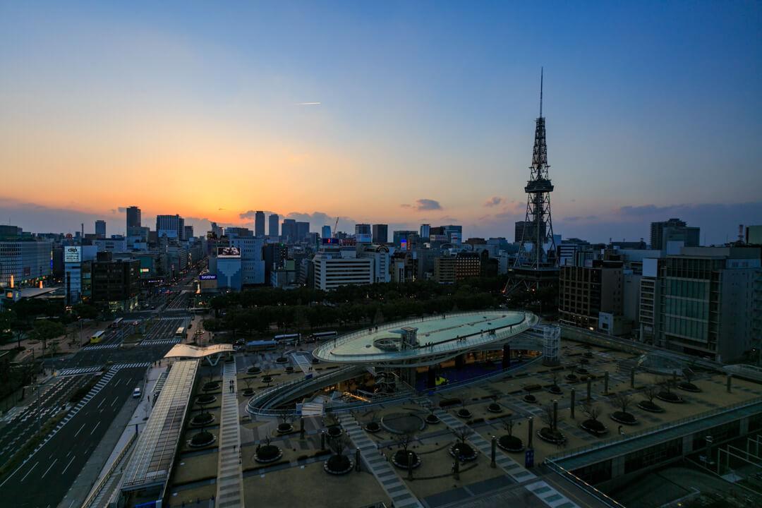 愛知芸術文化センター展望回廊から撮影した夕景