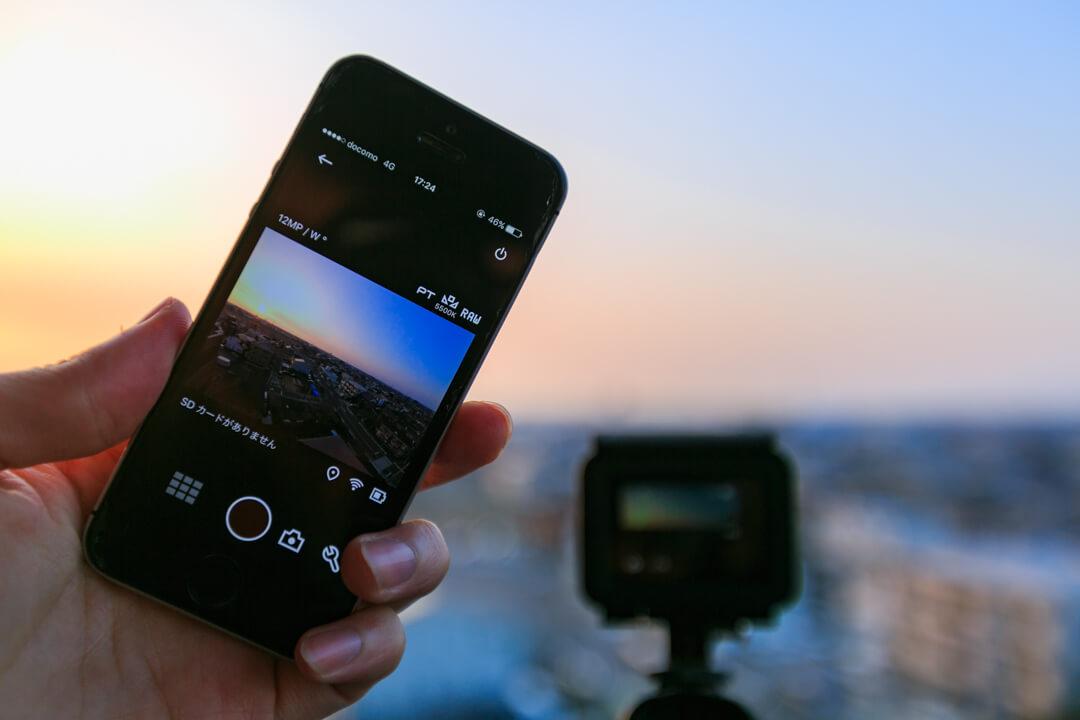専用アプリからGoProのシャッターを切っている様子を撮影した写真