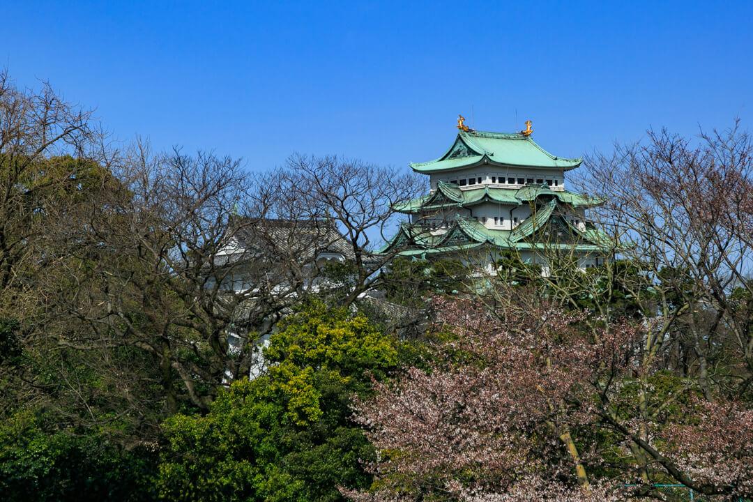 愛知県体育館から撮影した名古屋城の写真
