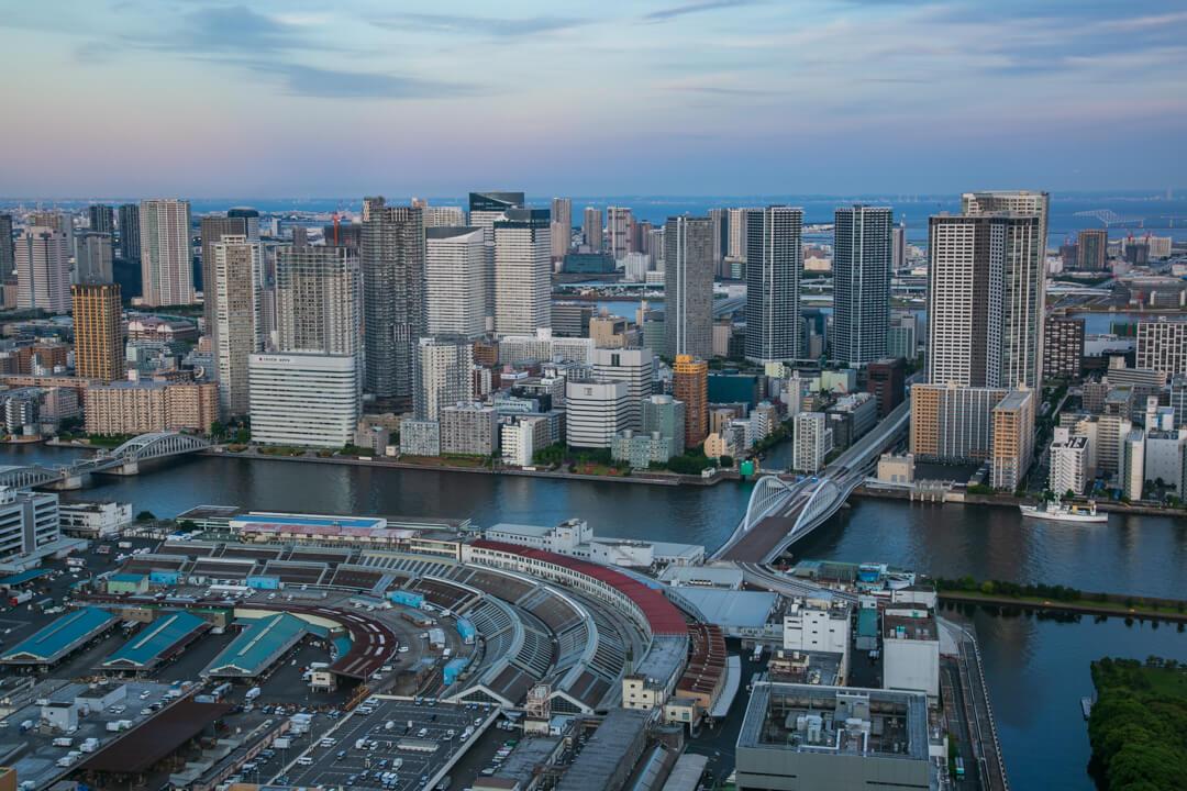 カレッタ汐留から眺める中央卸売市場築地市場と高層ビル群の写真