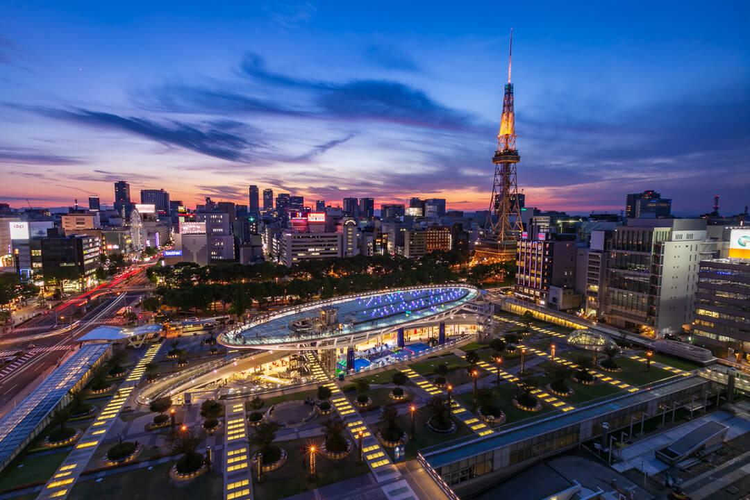 愛知芸術文化センターから撮影したオアシス21とテレビ塔