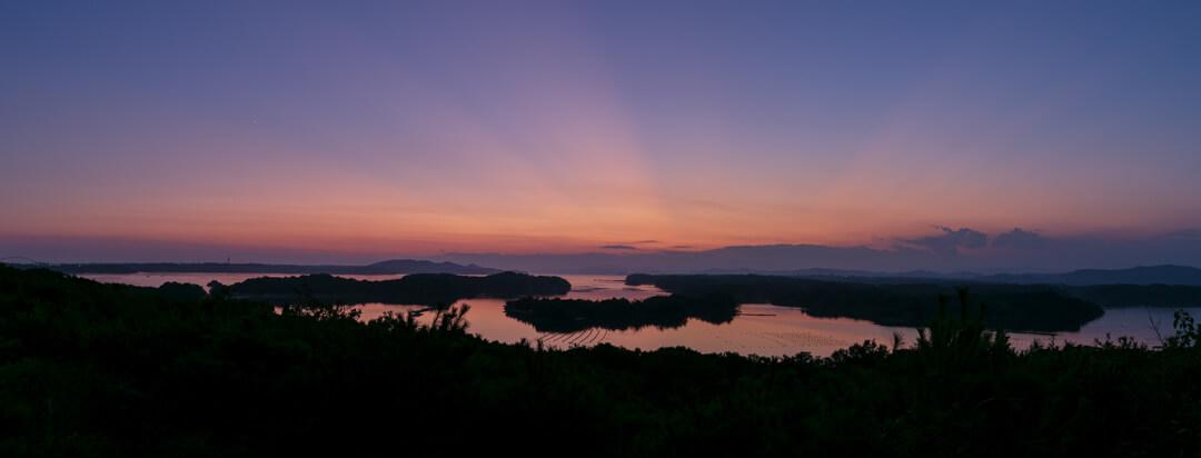 ともやま公園・桐垣展望台から撮ったトワイライトのパノラマ写真