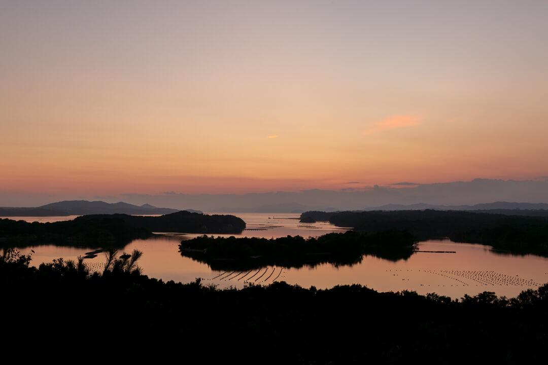 ともやま公園・桐垣展望台から撮った日没直後の景色