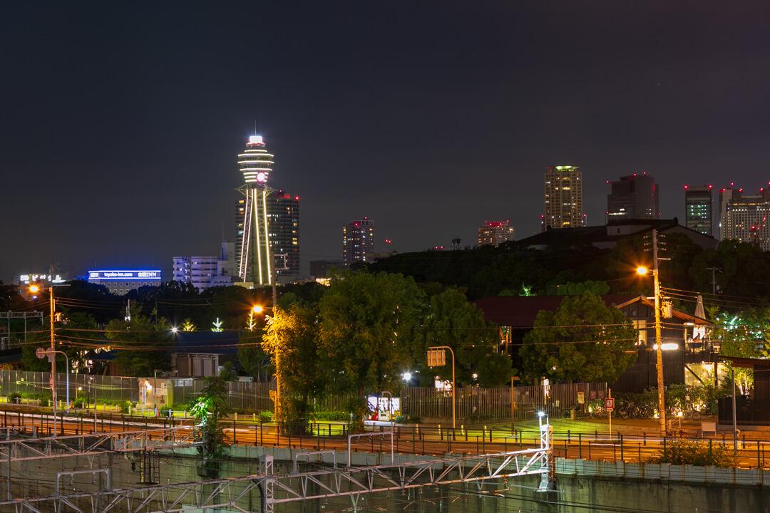 新世界・阿倍野歩道橋から撮影した通天閣