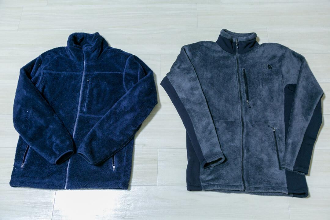 ユニクロのフリースとノースフェースのバーサミッドジャケットを並べた写真