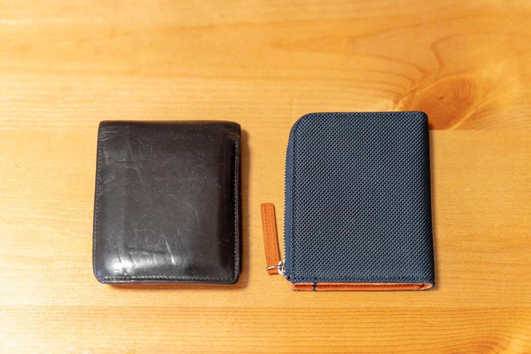monogoods(モノグッズ) ポケット財布の大きさを比較