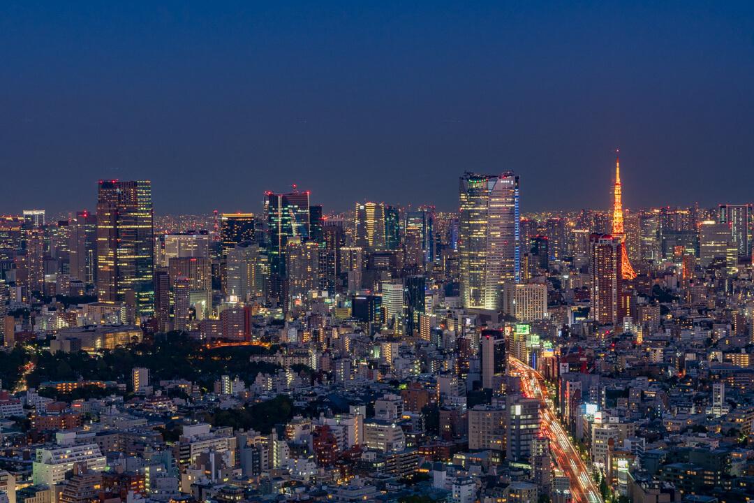 渋谷スクランブルスクエア「渋谷スカイ」から撮影した東京タワー