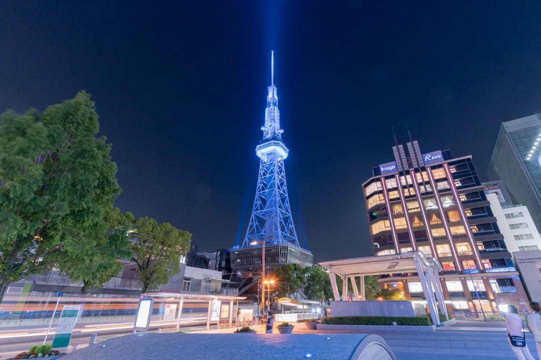 ブルーライトアップの名古屋テレビ塔