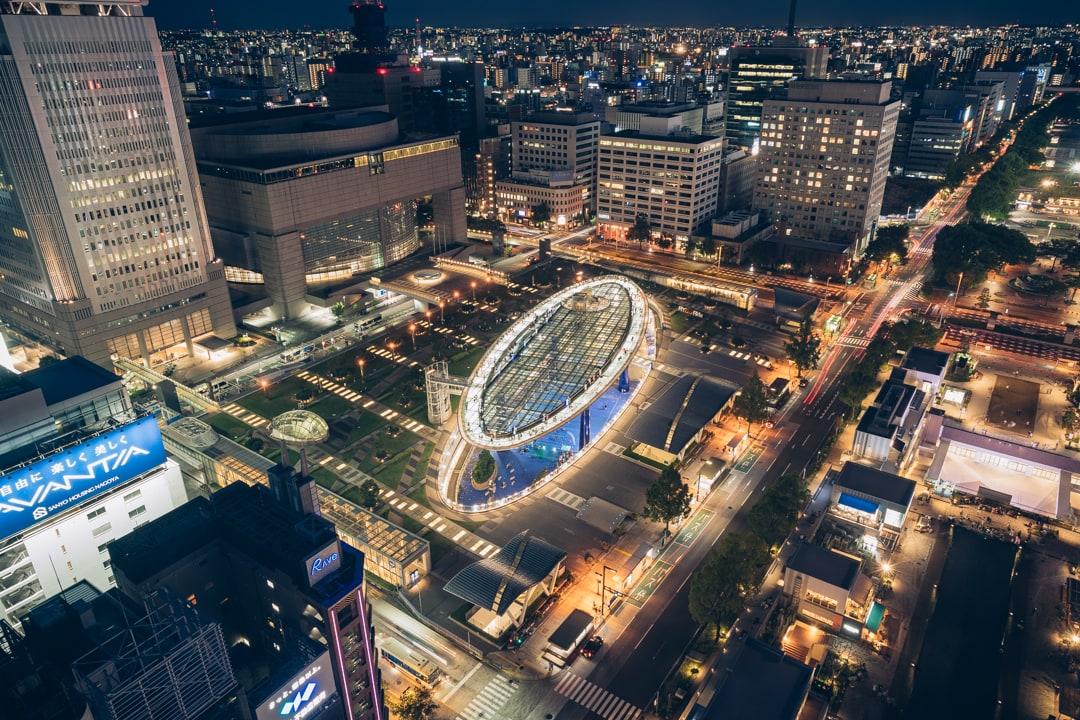 名古屋テレビ塔から撮影したオアシス21の写真