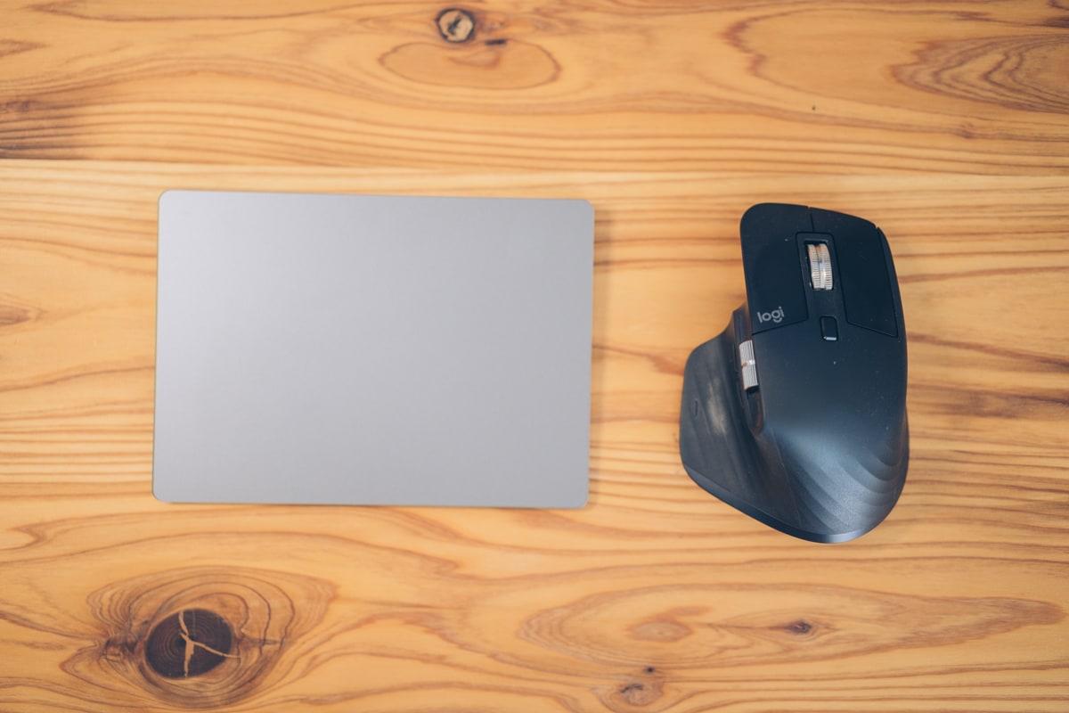 Mx Master3とApple Magic TrackPad 2を並べた写真