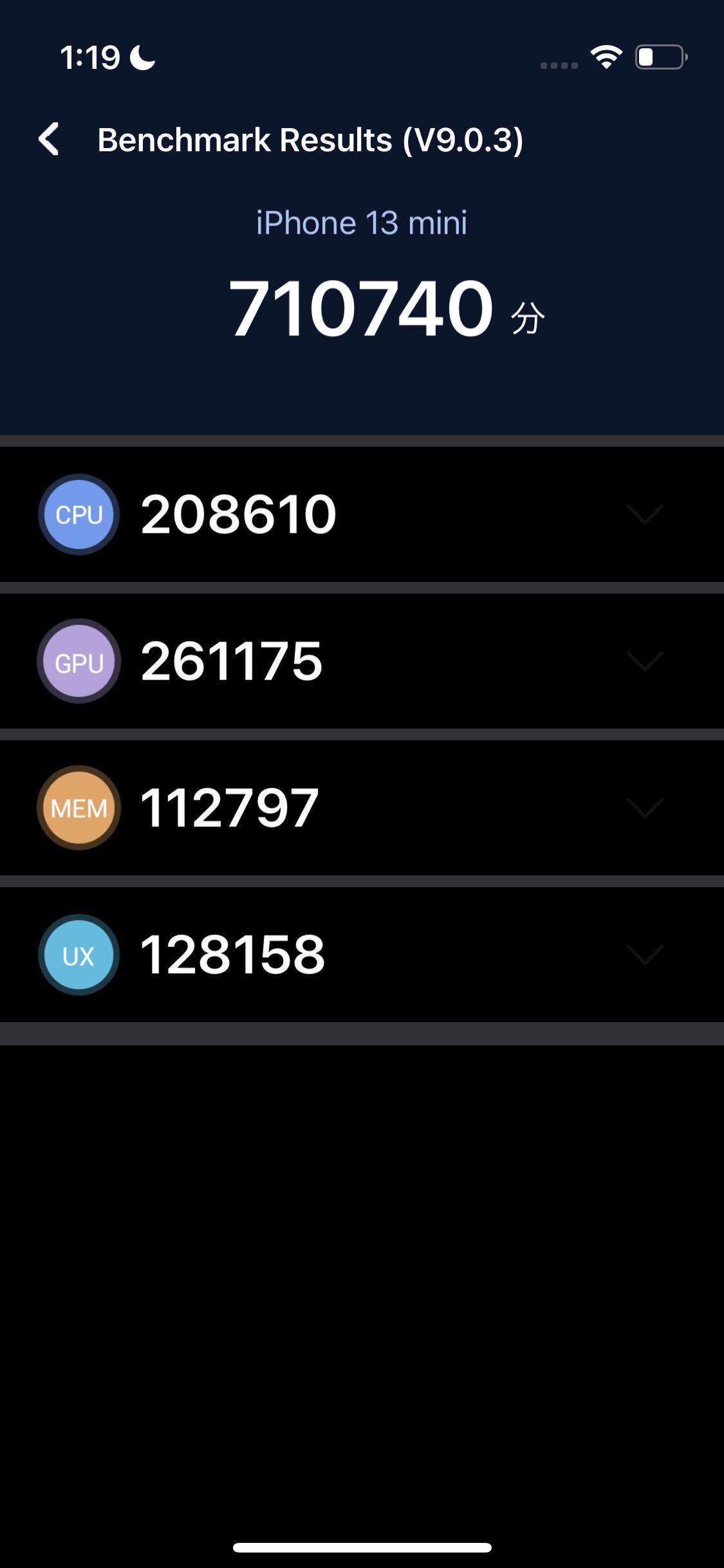 iPhone13 miniをAntutuベンチマークで測定した結果