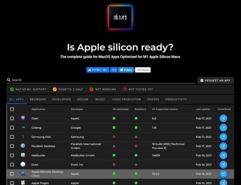 is Apple silicon ready?のスクリーンショット
